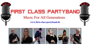 Logo: FIRST CLASS PARTYBAND = Top Party- und Tanzmusik Live Coverband